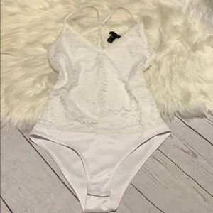 Size Large White One Piece Bodysuit Lace Cutout